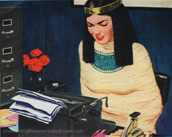 vintage illustration secretary as mummy
