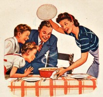 vintage illustration familly meal
