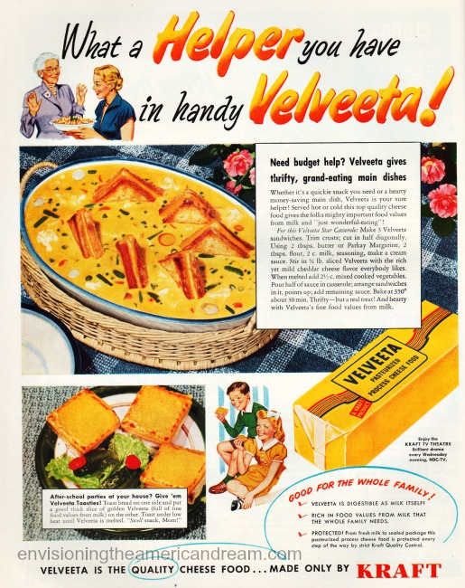 "fun, family friendly food"" Vintage Velveeta Ad 1951"
