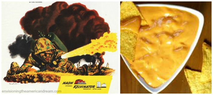 vintage WWII ad soldier and photo of nachos velveeta