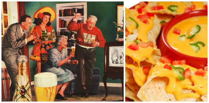 vintage illustration family watching football game on TV and pictureof  nachos