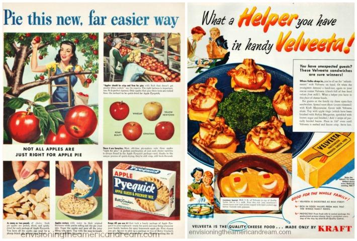 Vintage ads Velveeta and Pyequick