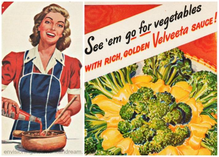 Food Velveeta WWII vegetables ads illutration housewife 40s
