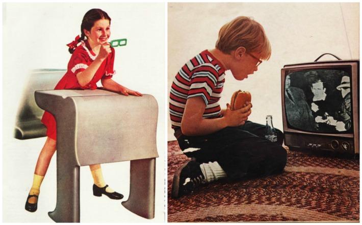 photo boy watching Oswald shot onTV