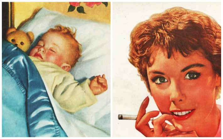 illustration sleeping baby and woman smoking