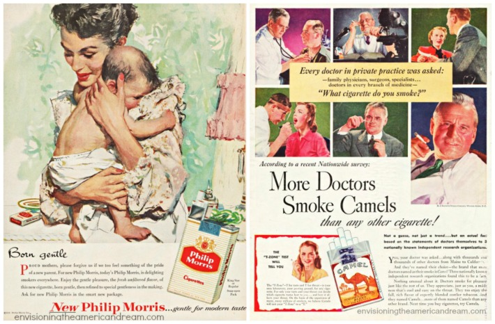 vintage ad featuring doctors smoking and illustration smoking mother and baby