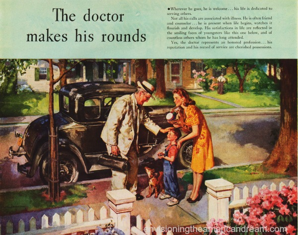 vintage illustration doctor visiting family 1940s