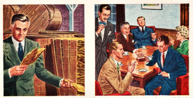 vintage illustration businessmen smoking
