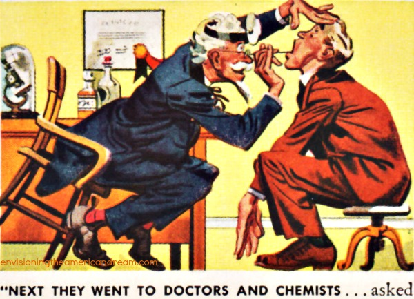 vintage illustration doctor examining patient