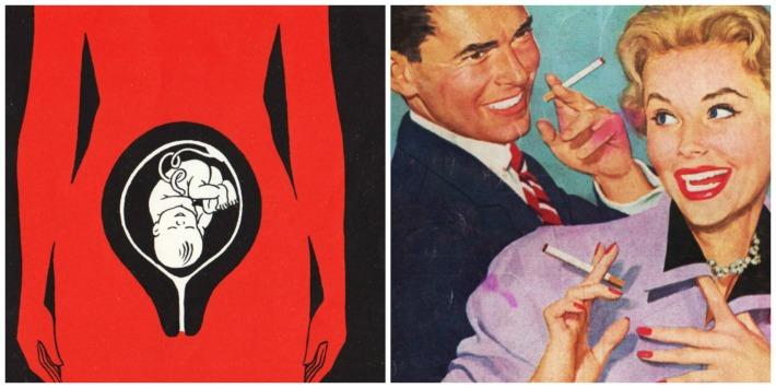 illustration of fetus vintage smoking couple illustration