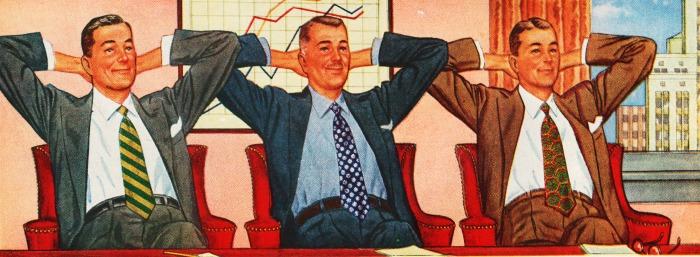 vintage illustration men in office