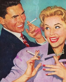 vintage illustration couple smoking cigarettes