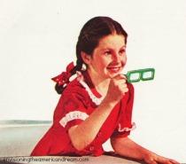school girl with retro 3D glasses