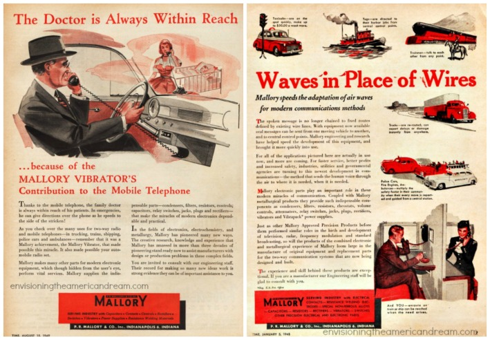 Vintage ads 1949 Mallory Electronics