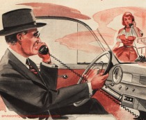 vintage illustration car phone 1040s
