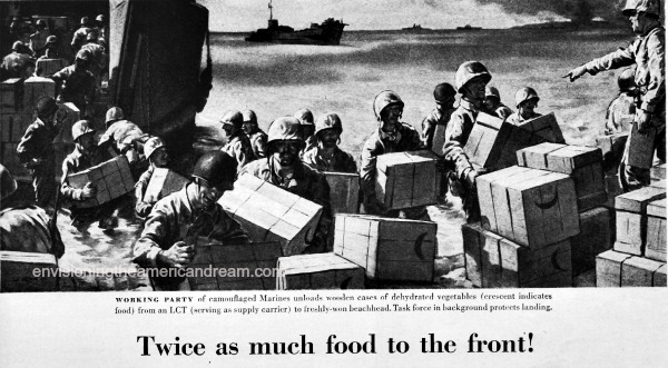 vintage ad wwii soldiers unloading food supplies