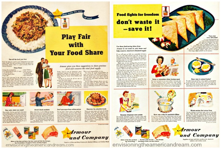 WWII Food Fights For Freedom vintage ads