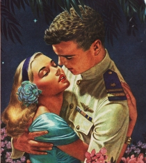 vintage illustration 1944 girl and soldier embracing