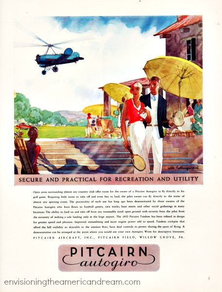 vintage illustration 1930 wealthy country club retro helicopter