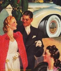 vintage illustration 1930s wealthy couple