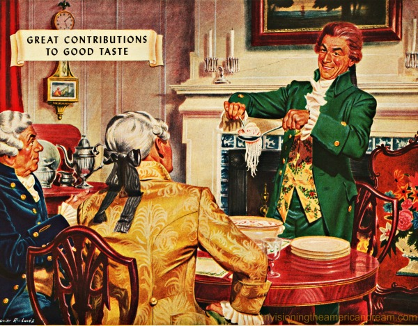 vintage illustration Thomas Jefferson serving spaghetti