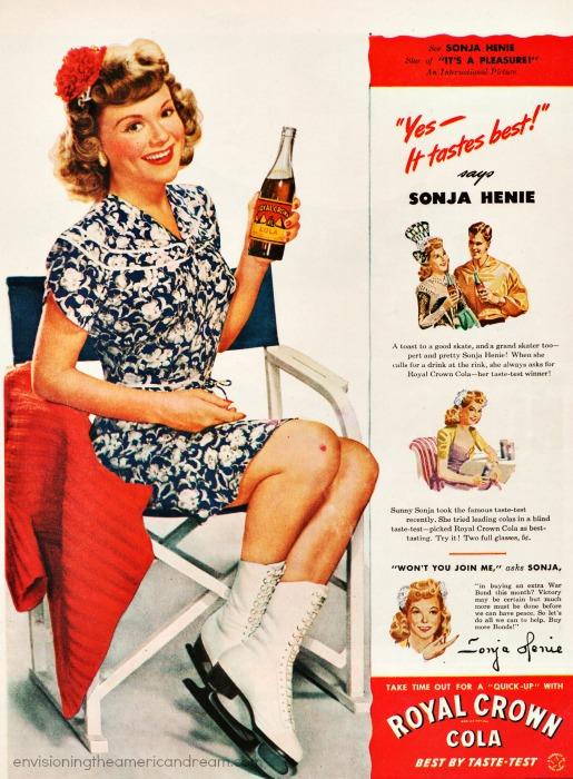 Vintage RC Cola Ad 1944 Sonja Henie