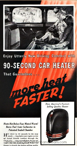 Vintage Ad South Wind Car Heater 1940 grandmother and boy in car