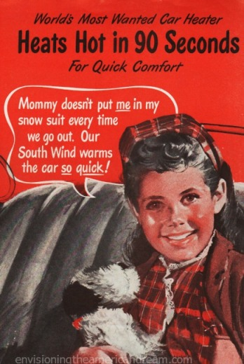vintage illustration girl in car