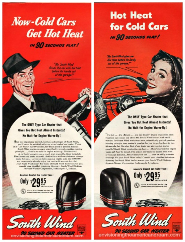 vintage Cars heaters South Wind man woman drivers