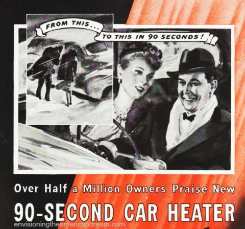 Vintage ad car heater illustration couple in car