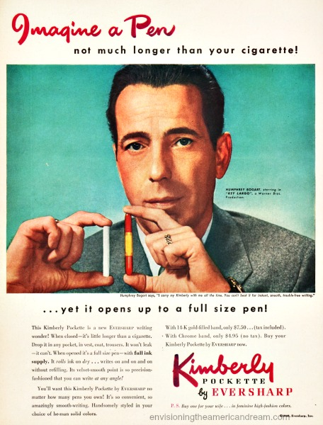 Film Star Humphrey  Bogart  in ad for Eversharp pens