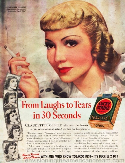 Movie Star  Claudette Colbert 1938 Lucky Strike ad