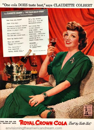 Vintage RC Cola ad Claudette Colbert 1942