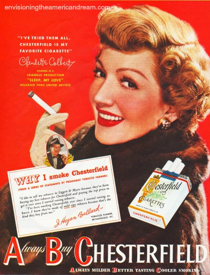 Film star  Claudette Colbert  Chesterfield Cigarette ad 1948