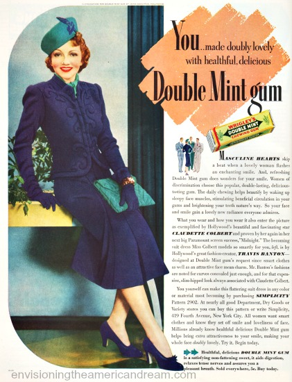 Movie Star Claudette Colbert ad for Double Mint Gum