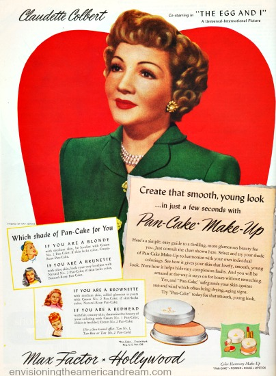 Movie Star  Claudette Colbert in Max Factor Make Up ad 1947