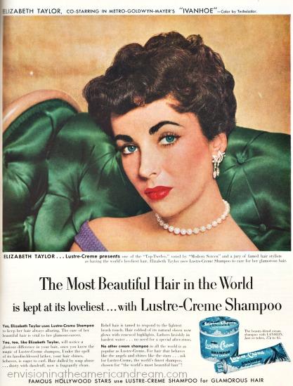 celebrity Elizabeth Taylor Lustre Creme Shampoo Ad