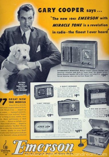 movie star Gary Cooper ad