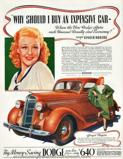 movie star  Ginger Rogers 1936  Dodge