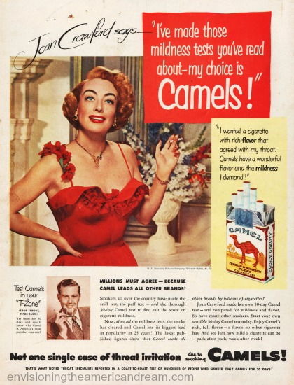 movie star Joan Crawford Camels cigarette ad 1951