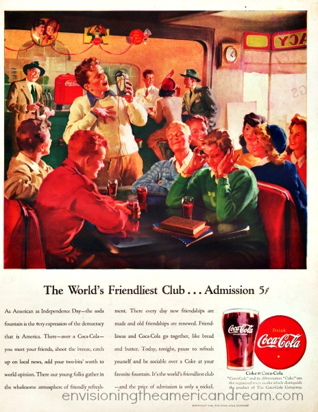 Vintage Coca Cola ad 1946 Illustration soda fountain