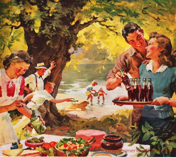 vintage illustration Coke ad family picnic