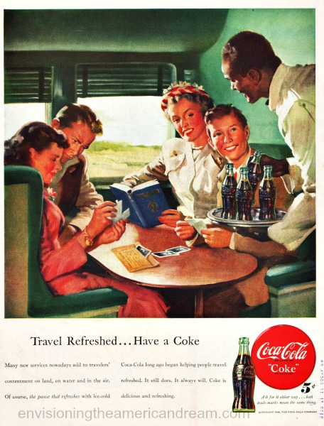 vintage Coke ad 48 illustration  train travelers and pullman porter