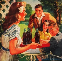 vintage illustration Coke ad serving coke