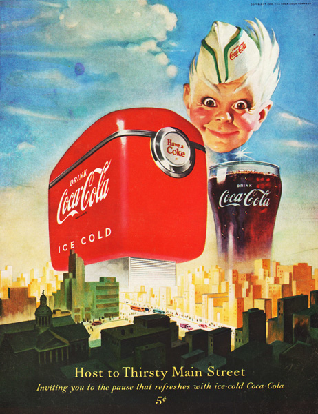 Vintage Coke ad 1950 illustration Sprite coke machine