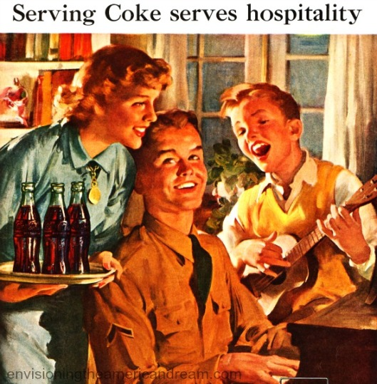 vintage illustration Coke and soldier and family singing