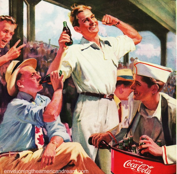 vintage illustration baseball game coke ad