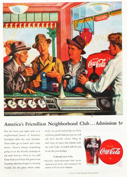 vintage illustration Coke ad men at soda fountain