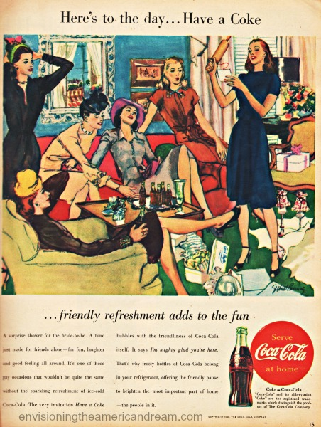vintage coke ad illustration engagement party  47