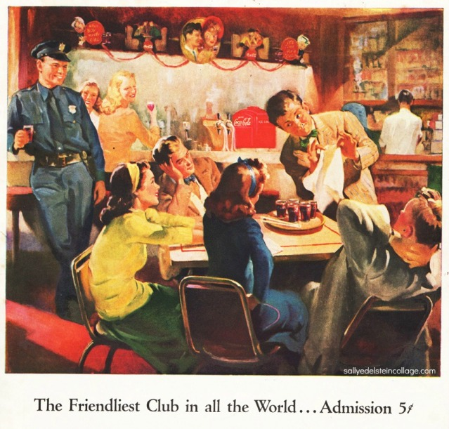 vintage ad Coke soda fountain illustration 1946